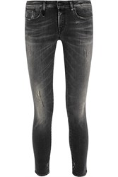R 13 Kate Distressed Low Rise Skinny Jeans