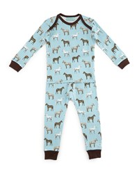 Bedhead Year Of The Horse Pajama Shirt And Pants Light Blue