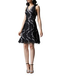 Kay Unger Two Toned Metallic Lace Cocktail Dress Black