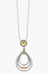 Lagos Caviar 'Superfine' Two Tone Pendant Necklace Silver Gold