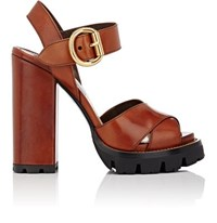 Prada Women's Lug Sole Leather Ankle Strap Sandals Gold
