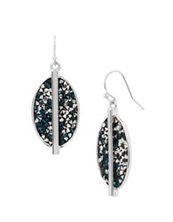 Kenneth Cole Mixed Sprinkle Stone Oval Drop Earrings Silver