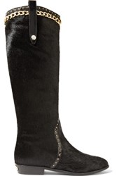 Just Cavalli Embellished Calf Hair Boots Black