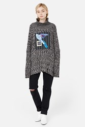 Aalto Knit Sweater With Collage Print Patch Black White