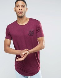 Sik Silk Siksilk Marl T Shirt With Curved Hem Burgundy Red