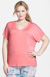 Plus Size Women's Hard Tail Slouchy V Neck Tee Coral Pink
