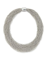 Monili Beaded Multi Strand Choker Necklace Brunello Cucinelli Silver