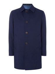 Chester Barrie Bayswater Check Raincoat Navy