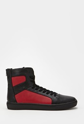 Forever 21 Zippered High Top Sneakers Black Red