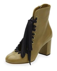 Chloe Lace Up Leather Ankle Boot Khaki Green