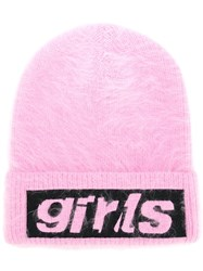 Alexander Wang Girl Embroidered Beanie Pink And Purple