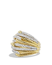 David Yurman Labyrinth Dome Ring With Diamonds In Gold
