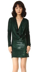 Ashish Short Drape Front Dress Forest Green
