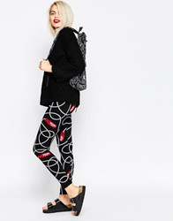 Moschino Rope Print Leggings Black