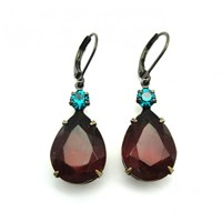 Zt Red Topaz And Blue Zircon Vintage Jewel Earrings