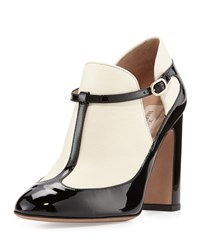 Valentino Patent Leather Two Tone T Strap Pump Black White