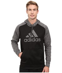 Adidas Team Issues Fleece Pullover Hoodie Applique Black Heather Dark Grey Heather Black Men's Sweatshirt