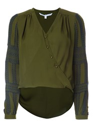 Veronica Beard Wrap Style V Neck Blouse Green