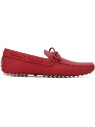 Car Shoe Laced Loafers Red