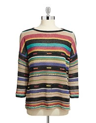 Lord And Taylor Aztec Striped Sweater Deep Blue