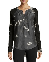 Chelsea And Theodore Tie Dye Half Button Pullover Blouse Black