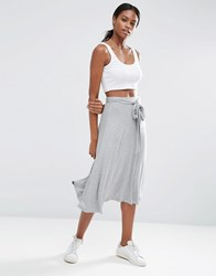 Asos Midi Skater Skirt With Tie Knot Gray Marl