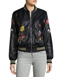 Max Studio Floral Embroidered Faux Leather Jacket Black