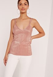 Missguided Pleated Strap Back Cami Top Pink Nude