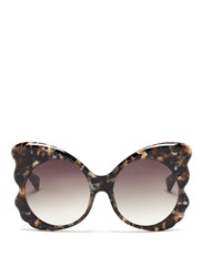 Matthew Williamson Tortoiseshell Effect Acetate Butterfly Cat Eye Sunglasses Multi Colour