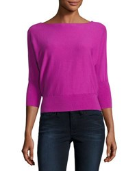 Milly 3 4 Dolman Sleeve Bateau Neck Pullover Top Fuchsia