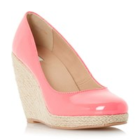 Linea Arnia Espadrille Wedge Court Shoes Coral