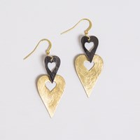 Present In The Laine Gold And Black Heart Earrings