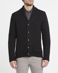 M.Studio Black Antonin Shawl Collar Wool Blend Cardigan
