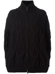 Fay Cable Knit Zipped Jacket Black