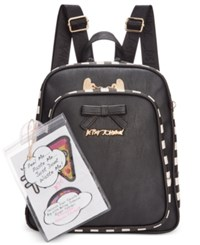 Betsey Johnson Mini Backpack With Patches Black