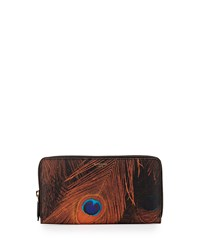 Givenchy Peacock Feather Print Large Zip Wallet Brown Multi