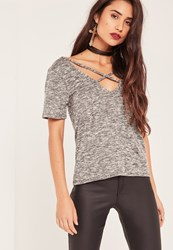 Missguided Grey Cut And Sew Cross Front T Shirt