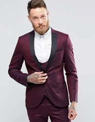 Noose And Monkey Super Skinny Tuxedo Jacket With Satin Lapel Stretch Burgundy Red