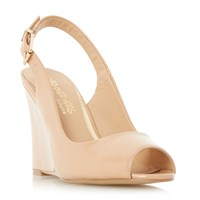 Head Over Heels Keeki Peep Toe Slingback Wedge Sandal Nude