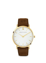Larsson And Jennings 'Lader Brown' Leather Strap Watch White Brown