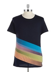 Hugo Boss Asymmetrical Striped Tee Dark Blue