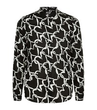 Paul Smith Ps By Slim Fit Interlock Heart Print Shirt Male Black
