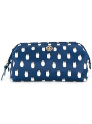 Tory Burch Penguin Print Make Up Bag Blue