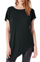 Michael Stars Women's Asymmetrical Ribbed Short Sleeve Tunic Everglades