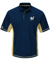 Majestic Men's Milwaukee Brewers Top Of The Inning Polo Navy