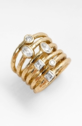 Melinda Maria 'Monroe' Stack Ring Gold Clear