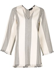 Derek Lam Striped Tunic White