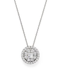 Bloomingdale's Diamond Baguette And Round Halo Pendant Necklace In 18K White Gold .90 Ct. T.W.