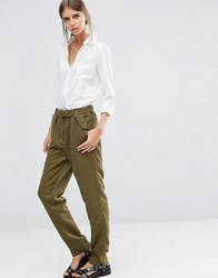Vila Belted Relaxed Fit Trousers In Ivy Green Ivy Green