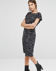 Trollied Dolly Pocket Rocket Diamond Print Dress Black